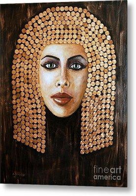 Metal Print featuring the painting Cleopatra by Arturas Slapsys