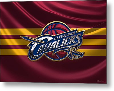 Cleveland Cavaliers - 3 D Badge Over Flag Metal Print by Serge Averbukh