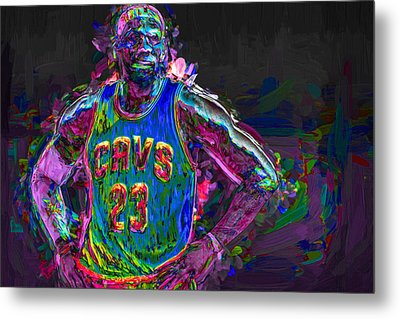Cleveland Cavaliers King Lebron James Painted Mix 2 Metal Print