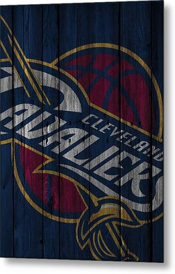 Cleveland Cavaliers Wood Fence Metal Print