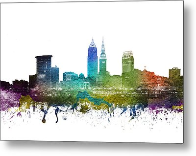 Cleveland Cityscape 01 Metal Print by Aged Pixel