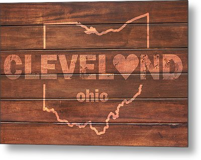 Cleveland Heart Wording With Ohio State Outline Painted On Wood Planks Metal Print by Design Turnpike