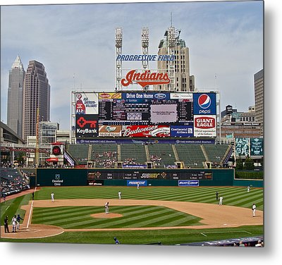Cleveland Indians At Progressive Field Metal Print by MB Matthews