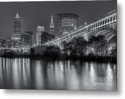 Cleveland Night Skyline IIi Metal Print by Clarence Holmes