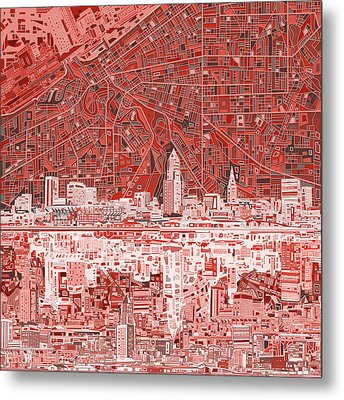 Cleveland Skyline Abstract 10 Metal Print