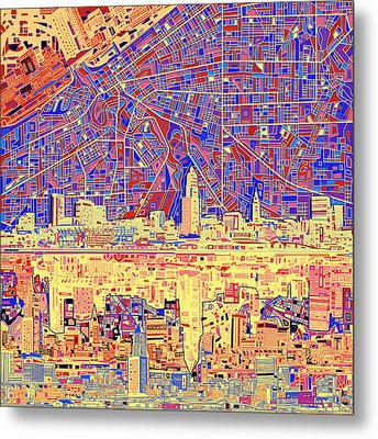 Cleveland Skyline Abstract 11 Metal Print