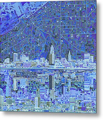 Cleveland Skyline Abstract 9 Metal Print