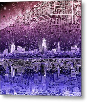 Cleveland Skyline Abstract Metal Print