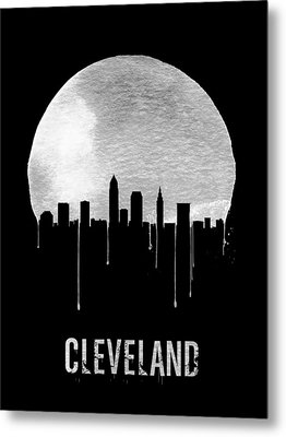 Cleveland Skyline Black Metal Print by Naxart Studio
