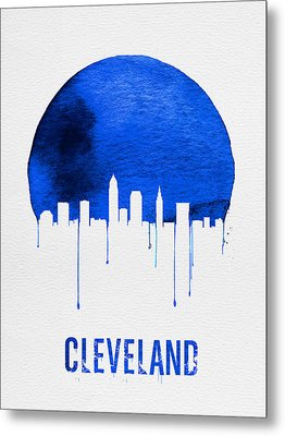 Cleveland Skyline Blue Metal Print by Naxart Studio
