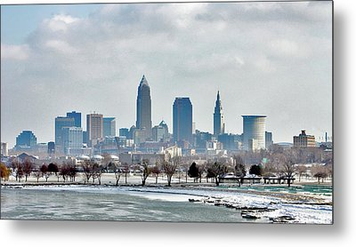 Cleveland Skyline In Winter Metal Print