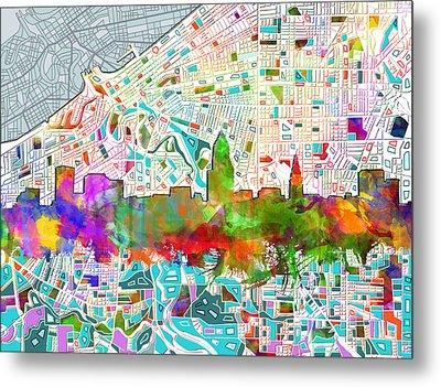 Cleveland Skyline Watercolor 2 Metal Print