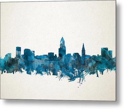 Cleveland Skyline Watercolor Blue Metal Print