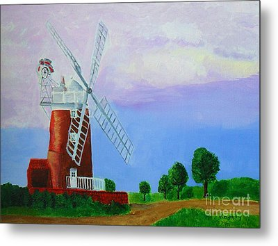 Metal Print featuring the painting Cley Mill by Rodney Campbell