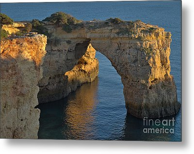 Cliff Arch In Albandeira Beach During Sunset 2 Metal Print