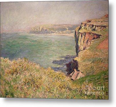 Cliff At Varengeville Metal Print by Claude Monet