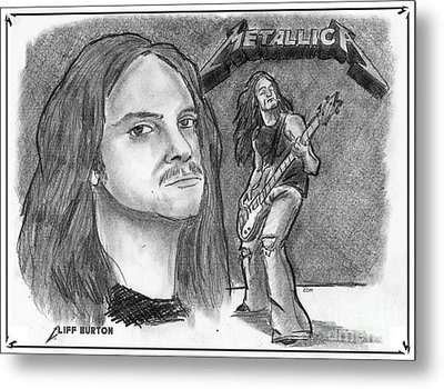 Metal Print featuring the drawing Cliff Burton by Chris  DelVecchio