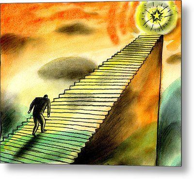 Climbing The Corporate Ladder Metal Print by Leon Zernitsky