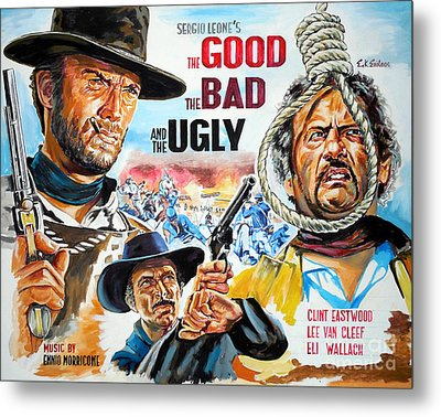 Clint Eastwood The Good The Bad And The Ugly Metal Print by Spiros Soutsos