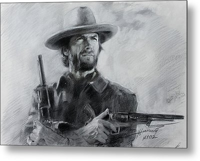 Metal Print featuring the drawing Clint Eastwood by Viola El
