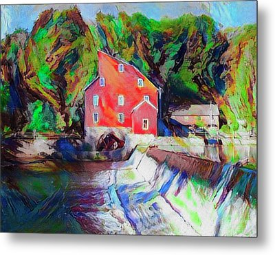 Clinton New Jersey -the Red Mill  On The Raritan River  Watercol Metal Print by Bill Cannon