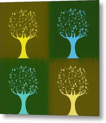 Metal Print featuring the mixed media Clip Art Trees by Dan Sproul