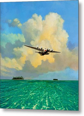 Metal Print featuring the painting Clipper Over The Islands by David  Van Hulst