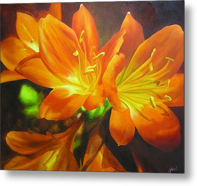 Metal Print featuring the painting Clivias by Chris Hobel