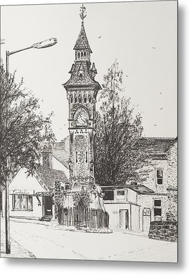 Clock Tower  Hay On Wye Metal Print by Vincent Alexander Booth