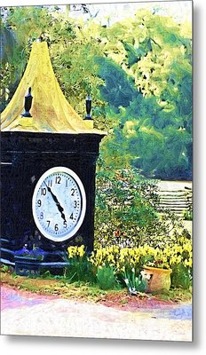 Metal Print featuring the photograph Clock Tower In The Garden by Donna Bentley