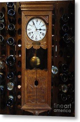 Clock Wine Rack Metal Print by Valia Bradshaw