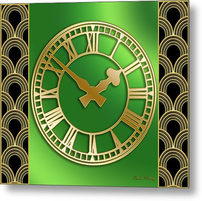 Metal Print featuring the digital art Clock With Border by Chuck Staley