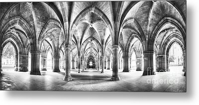Cloister Black And White Panorama Metal Print by Jane Rix