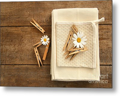 Close-pins And Dish Towels On Old Table  Metal Print by Sandra Cunningham