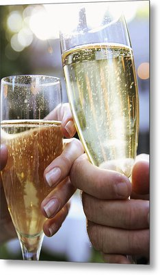 Close-up Of Champagne Flutes Metal Print by Gillham Studios