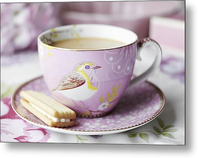 Close Up Of Cup Of Tea And Cookie Metal Print by Debby Lewis-Harrison