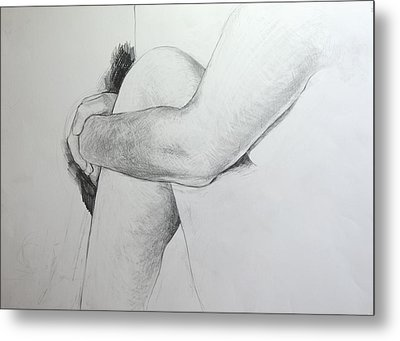 Metal Print featuring the drawing Close Up Of Life Figure. by Harry Robertson