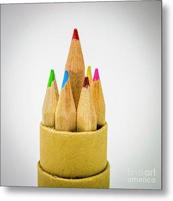Close-up Of Multi Colored Pencils Metal Print by Bernard Jaubert