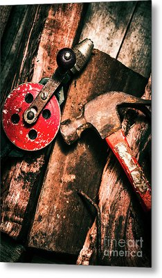 Close Up Of Old Tools Metal Print
