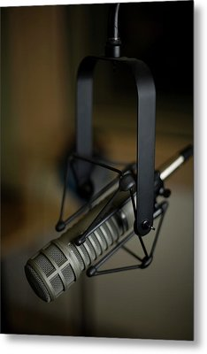 Close-up Of Recording Studio Microphone Metal Print by Christopher Kontoes