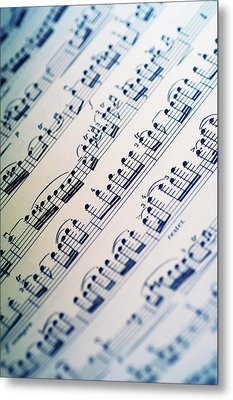 Close-up Of Sheet Music Metal Print by Medioimages/Photodisc