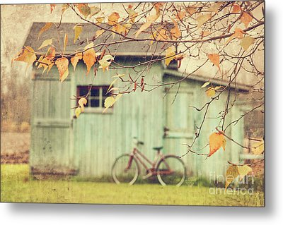 Closeup Of Leaves With Old Barn In Background Metal Print by Sandra Cunningham