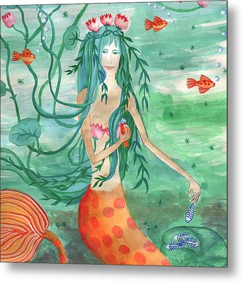Closeup Of Lily Pond Mermaid With Goldfish Snack Metal Print by Sushila Burgess