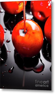 Closeup Of Red Candy Apple On Stick Metal Print