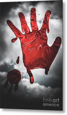 Closeup Of Scary Bloody Hand Print On Glass Metal Print