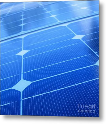 Closeup Of Solar Panels Metal Print by Yali Shi