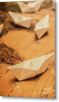 Closeup Toned Image Of Paper Boats On World Map Metal Print by Jorgo Photography - Wall Art Gallery