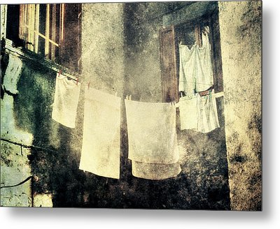 Clothes Hanging Metal Print