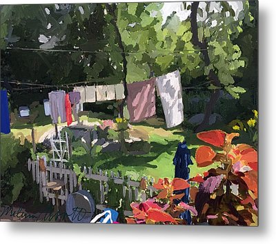 Clothesline And Coleus In An East Gloucester  Ma Garden  Metal Print
