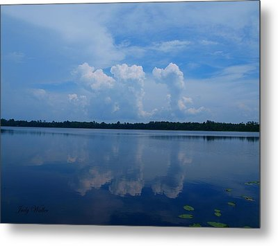 Cloud Reflections Metal Print by Judy  Waller